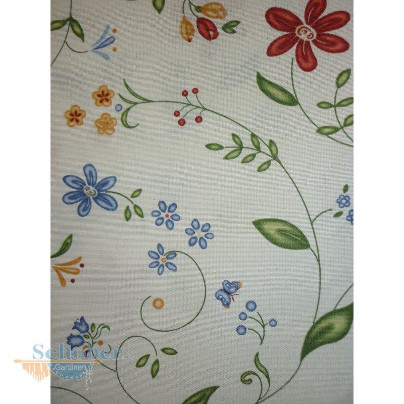 Deko-Stoffe Gardine Vorhang Landhaus Blumen bunt Meterware NEU, 14,95