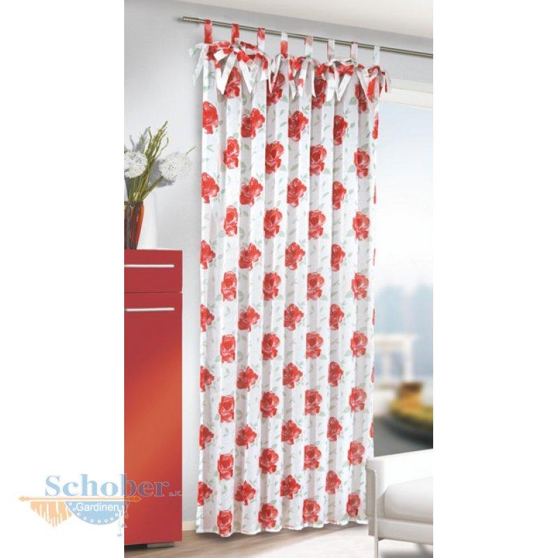 dekoschal schlaufenschal vorhang mit schleifen transparent rote rosen. Black Bedroom Furniture Sets. Home Design Ideas
