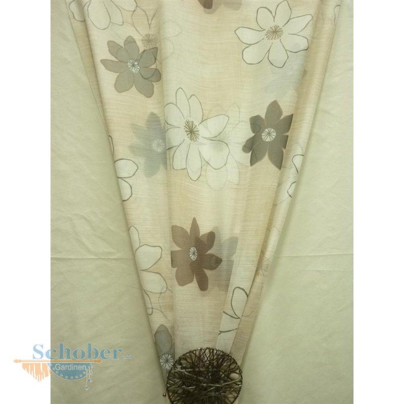 dekostoff gardine vorhang blume beige braun wei. Black Bedroom Furniture Sets. Home Design Ideas