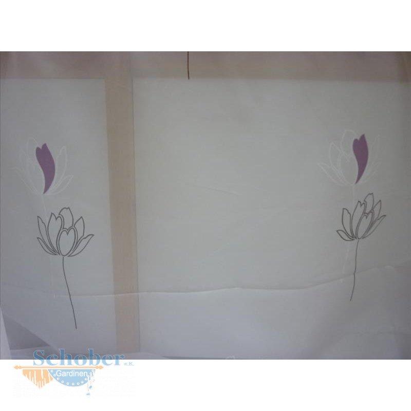 gardinen stoff vorhang stores blumendruck grau lila transparent meter. Black Bedroom Furniture Sets. Home Design Ideas