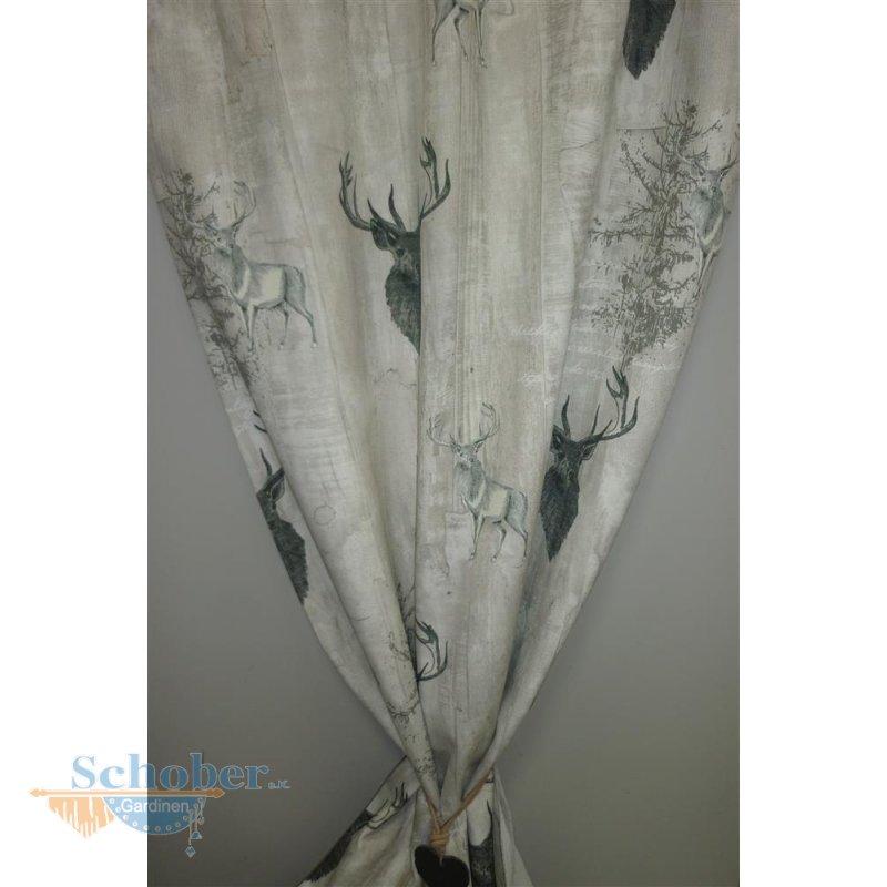 deko stoff gardine vorhang landhaus hirsch grau beige. Black Bedroom Furniture Sets. Home Design Ideas