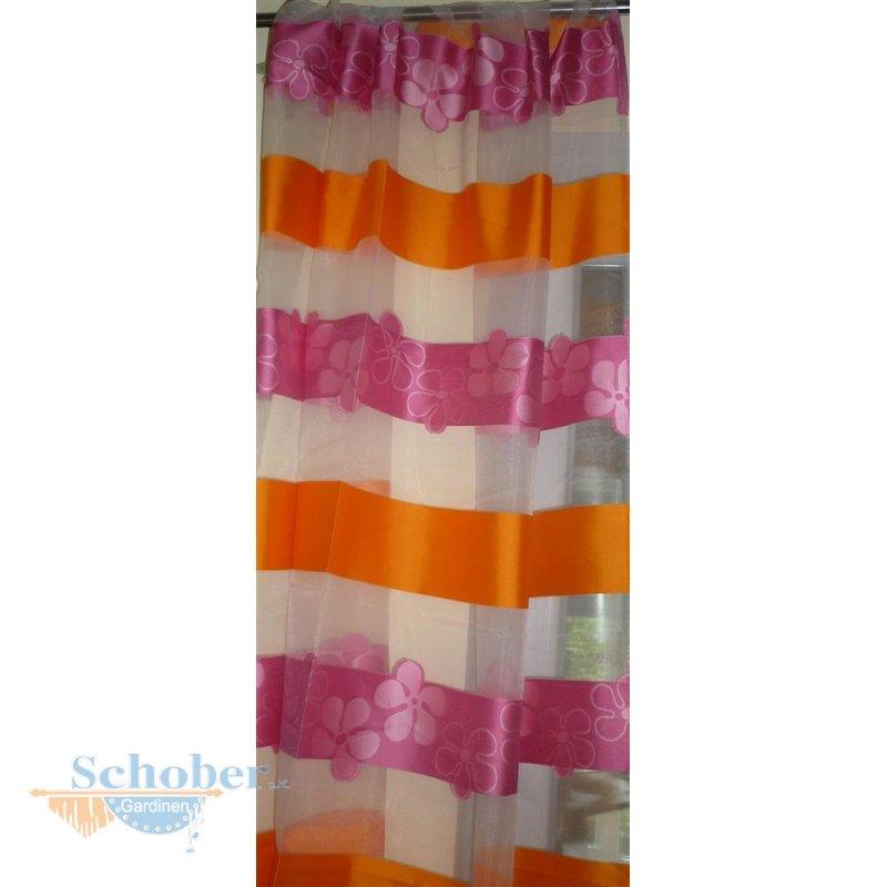 deko schal gardine vorhang streifen blumen pink orange wei tra. Black Bedroom Furniture Sets. Home Design Ideas
