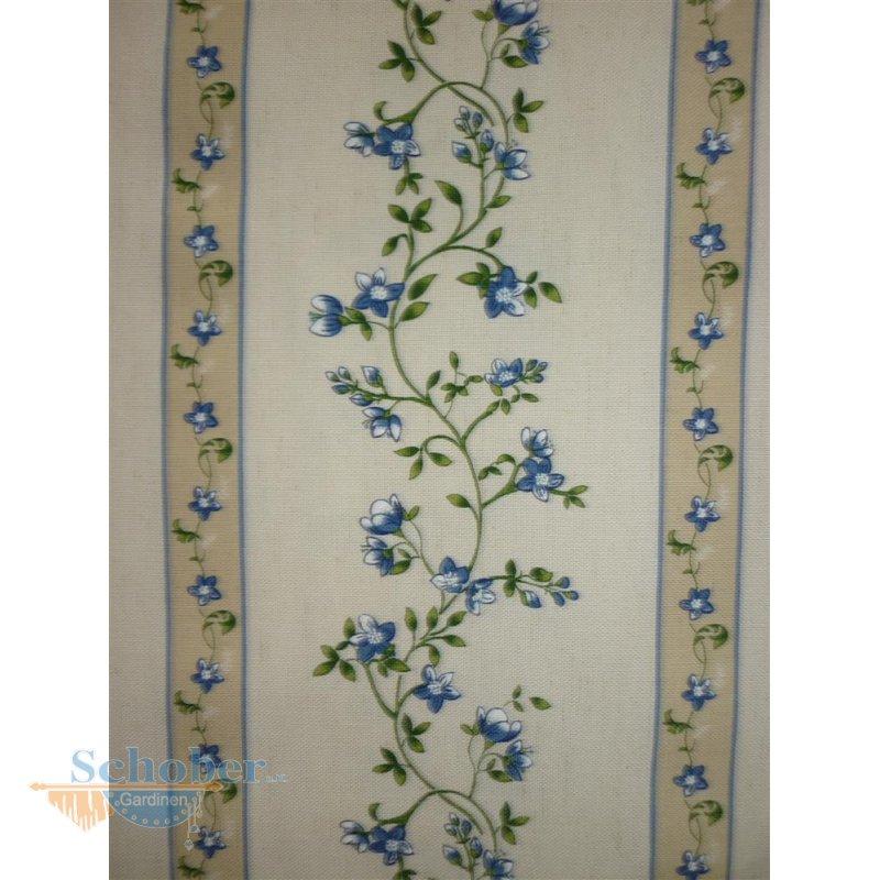 deko stoff gardine landhaus vorhang blumen streifen natur beige blau. Black Bedroom Furniture Sets. Home Design Ideas