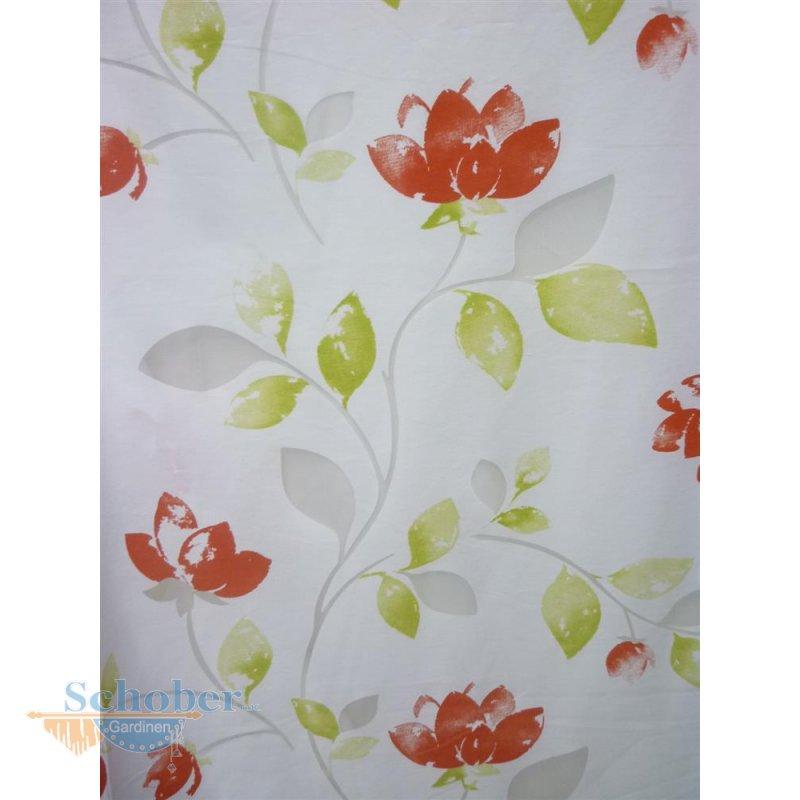 deko stoff gardine vorhang ausbrenner blumen ranke wei orange. Black Bedroom Furniture Sets. Home Design Ideas