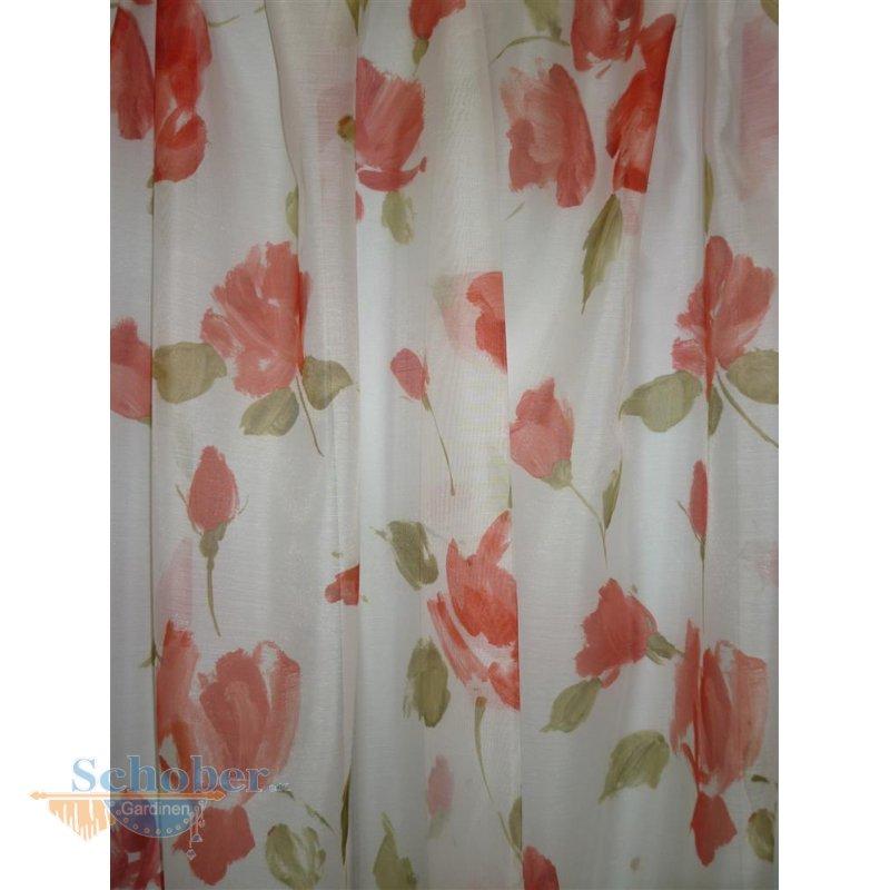 deko stoff gardine vorhang blumen ranken wei gr n apricot. Black Bedroom Furniture Sets. Home Design Ideas