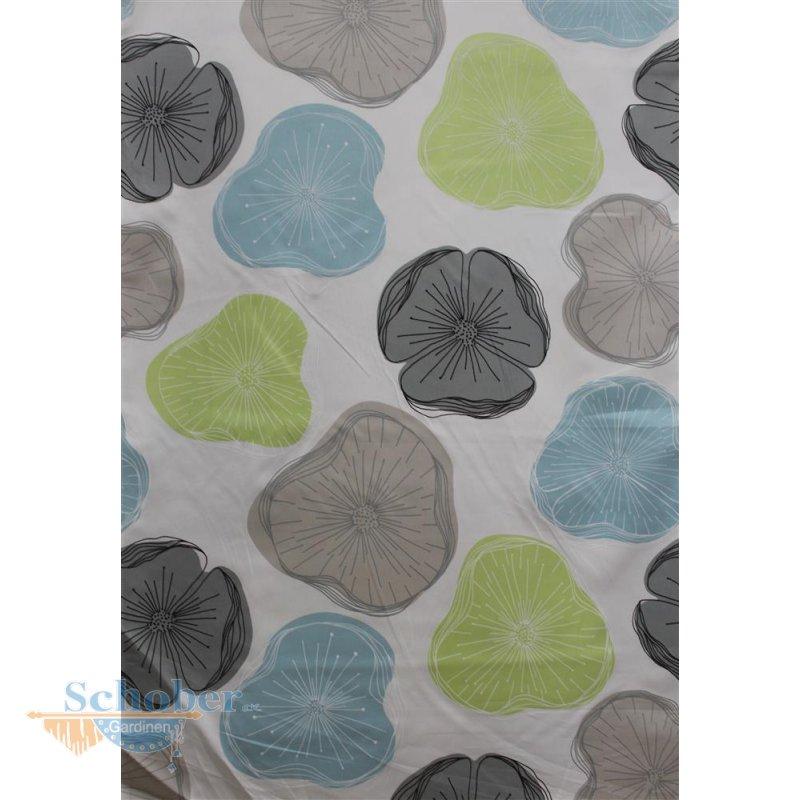 deko stoff gardine vorhang blumen wei gr n mint grau blic. Black Bedroom Furniture Sets. Home Design Ideas
