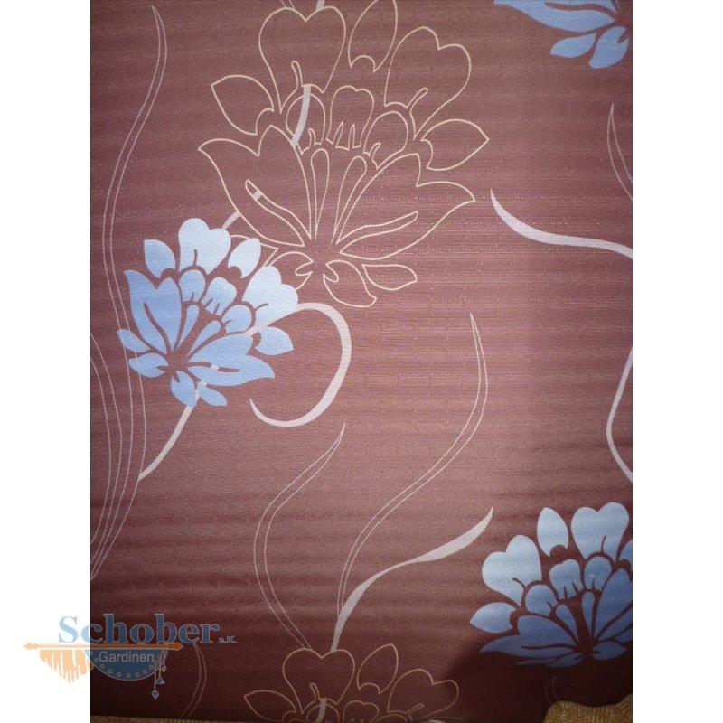 Deko stoff gardine vorhang druck blume braun blau - Deko blau braun ...