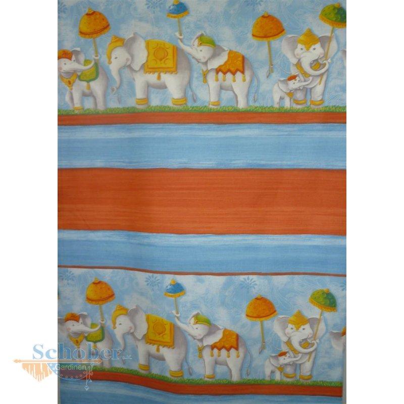 deko stoff gardine vorhang kinder baumwolle elefanten blickd restst. Black Bedroom Furniture Sets. Home Design Ideas