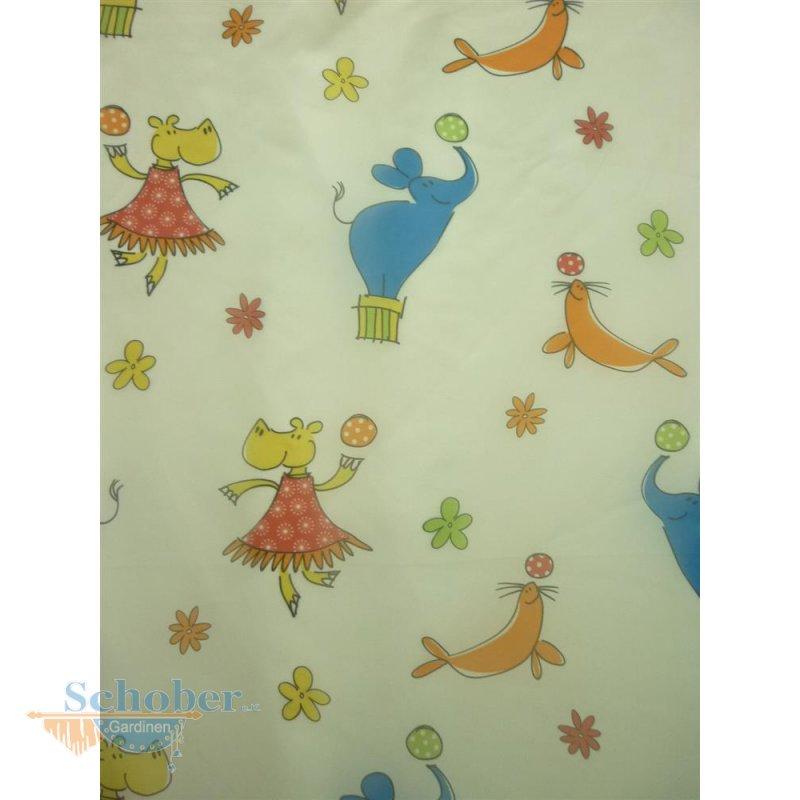 deko stoff gardine vorhang kinder wei bunte tiere hippo elefan. Black Bedroom Furniture Sets. Home Design Ideas