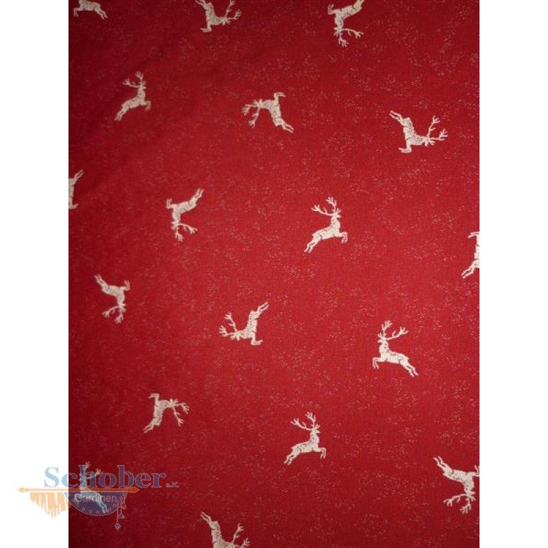 Deko Stoff Gardine Vorhang Landhaus Hirsch beidseitig rot natur blick