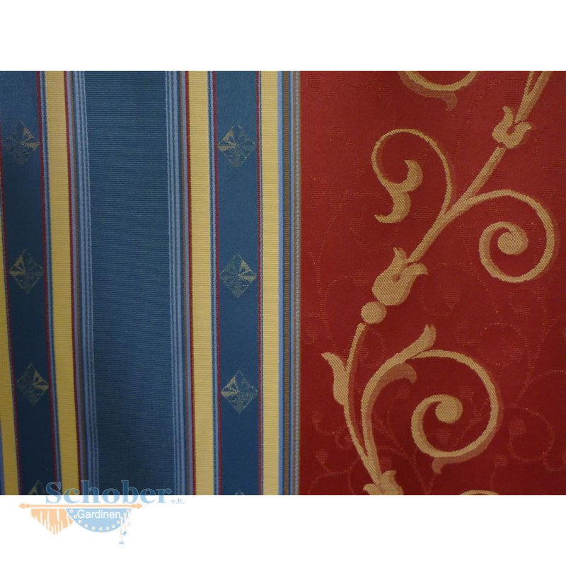 deko stoff gardine vorhang ornamente streifen blau rot. Black Bedroom Furniture Sets. Home Design Ideas