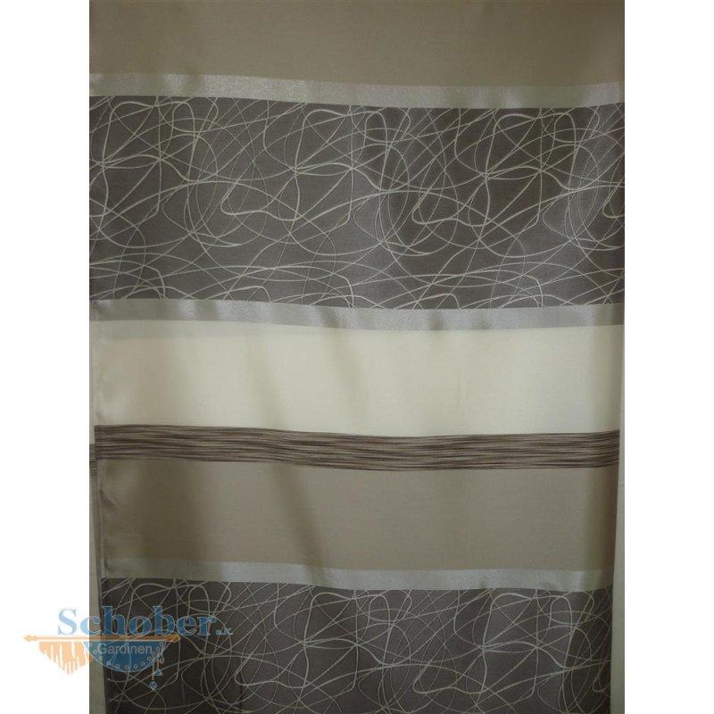 deko stoff gardine vorhang querstreifen creme beige schlamm blickdich. Black Bedroom Furniture Sets. Home Design Ideas
