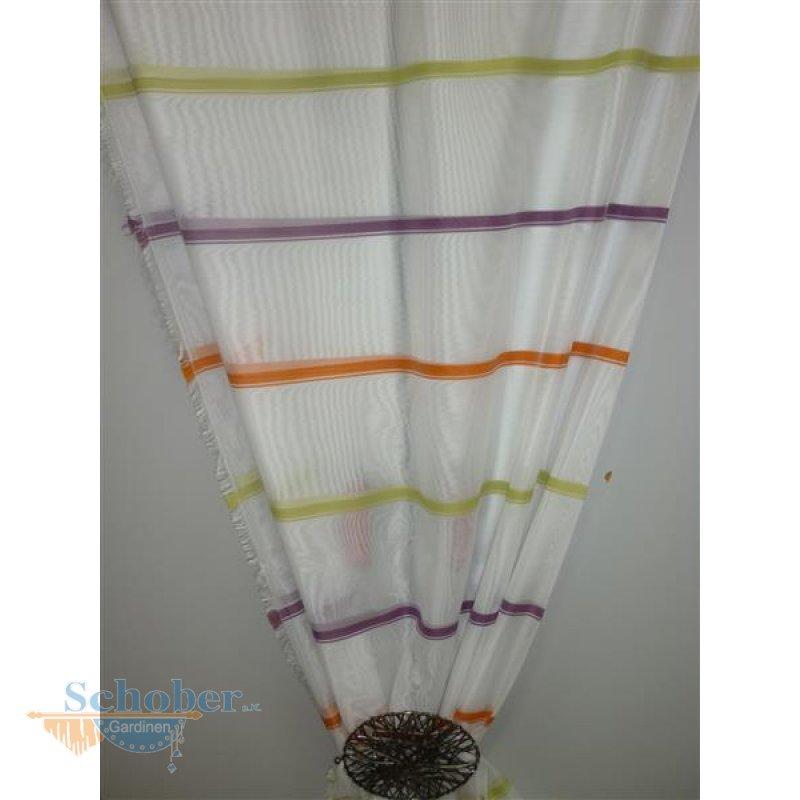 deko stoff gardine vorhang querstreifen gr n orange lila transpa. Black Bedroom Furniture Sets. Home Design Ideas