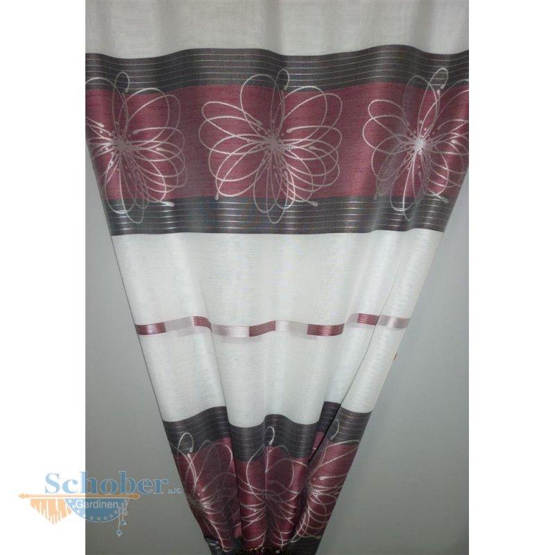 deko stoff gardine vorhang streifen blumen wei beere rot. Black Bedroom Furniture Sets. Home Design Ideas