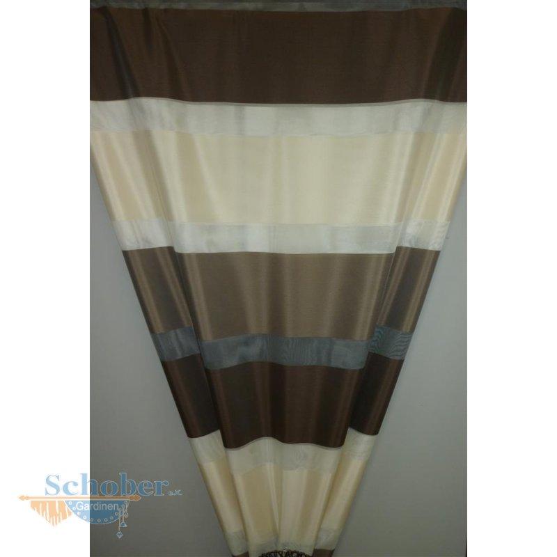 deko stoff gardine vorhang streifen braun creme. Black Bedroom Furniture Sets. Home Design Ideas