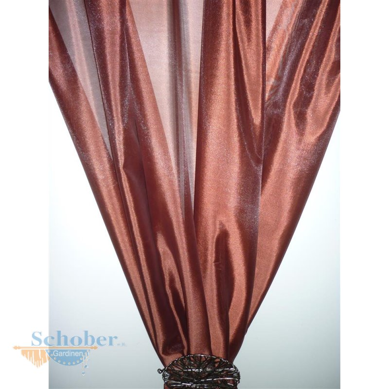 deko stoff gardine vorhang rostrot uni transparent. Black Bedroom Furniture Sets. Home Design Ideas