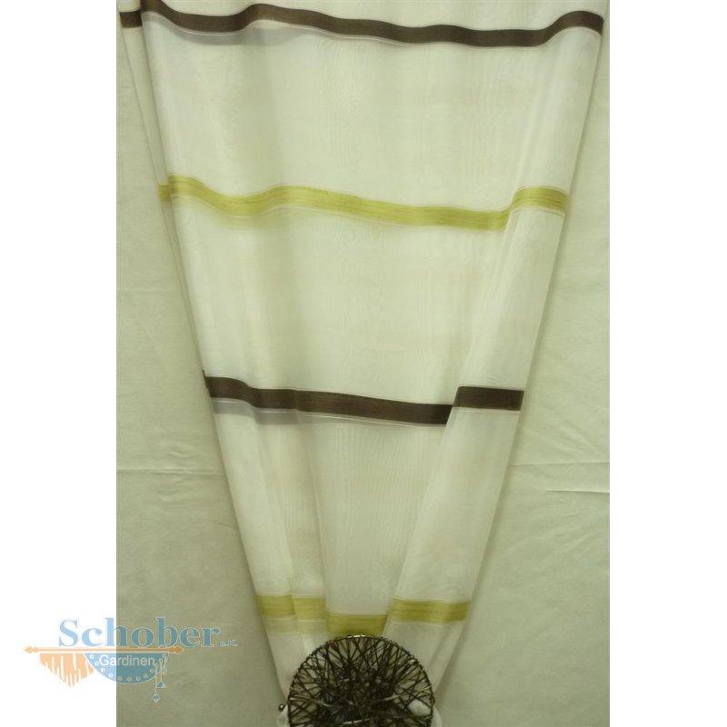 deko stoff gardine vorhang wei querstreifen braun gr n t. Black Bedroom Furniture Sets. Home Design Ideas