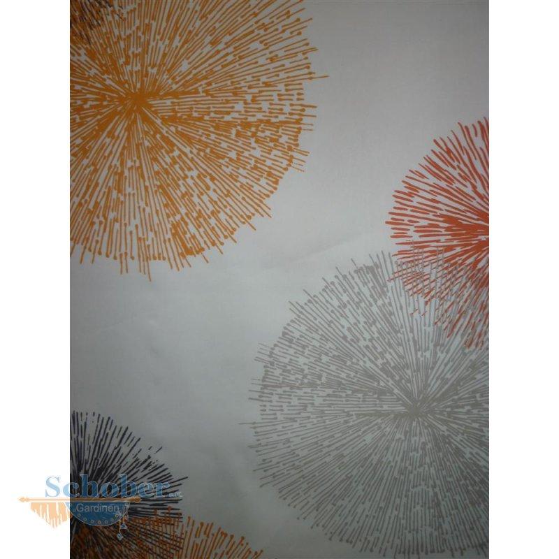 deko stoff vorhang kreise pusteblume wei orange grau. Black Bedroom Furniture Sets. Home Design Ideas
