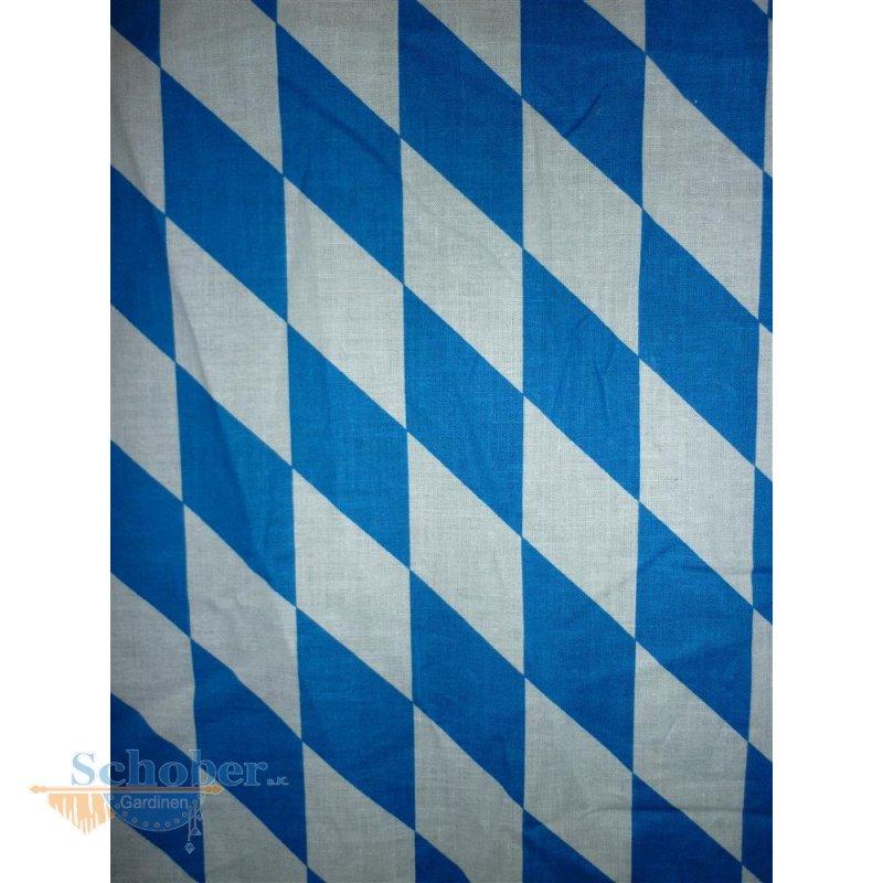 Deko-Stoff Vorhang Rautenmuster groß, Bayern blau/weiß, b