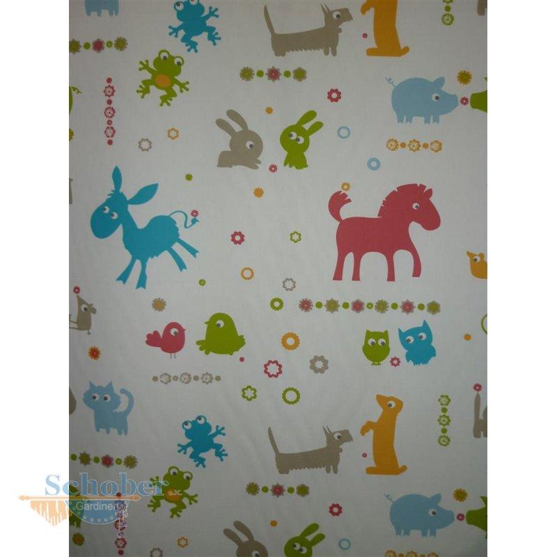 Deko Stoff Vorhang Tiere rohweiß grün rot türkis beig