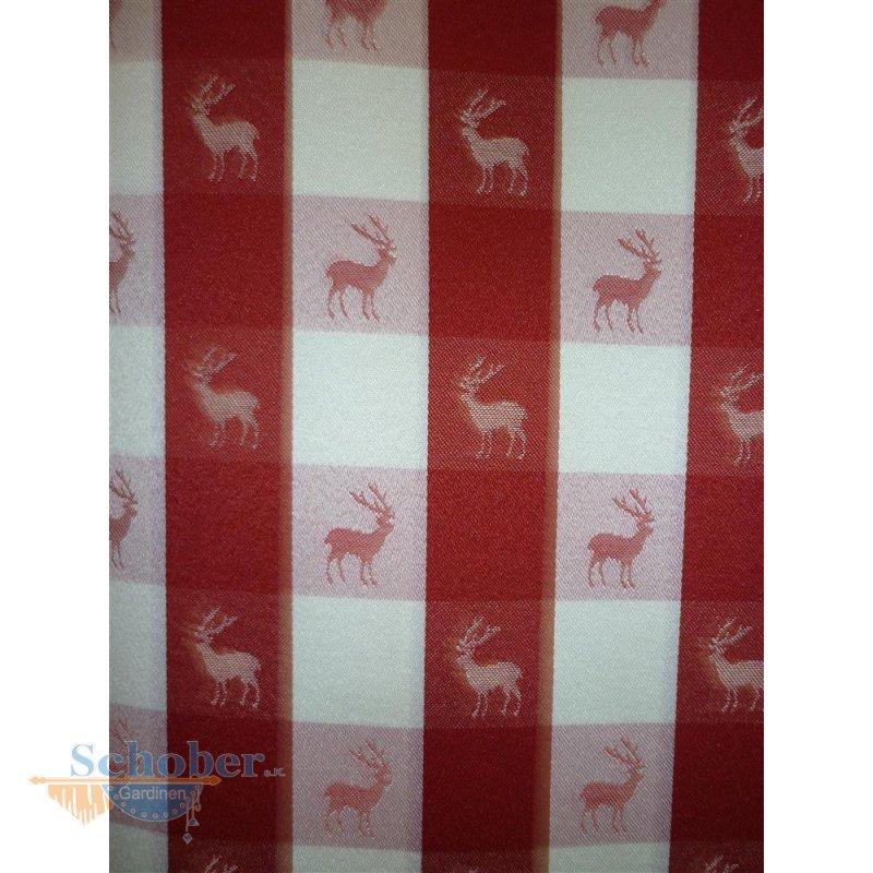 deko stoffe gardine vorhang landhaus karo hirsch rot natur blickdicht. Black Bedroom Furniture Sets. Home Design Ideas