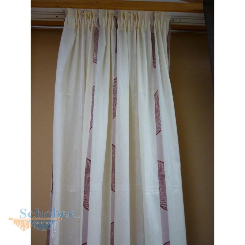dekoschal mit band gardine vorhang beige rot h he 2 38 m. Black Bedroom Furniture Sets. Home Design Ideas