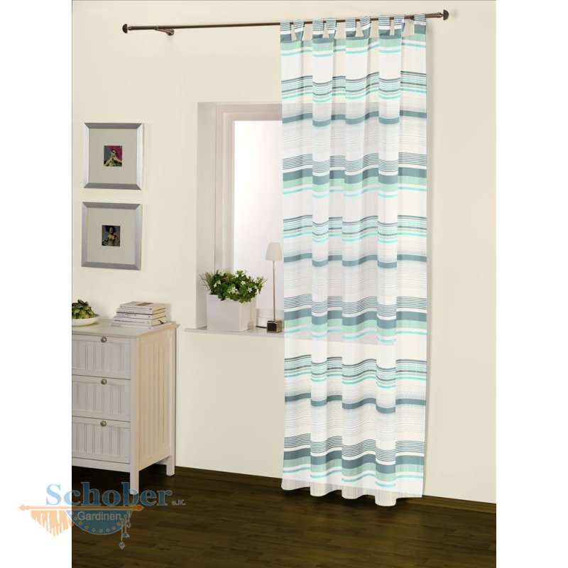 dekoschal schlaufenschal vorhang transparent querstreifen fertig gen. Black Bedroom Furniture Sets. Home Design Ideas