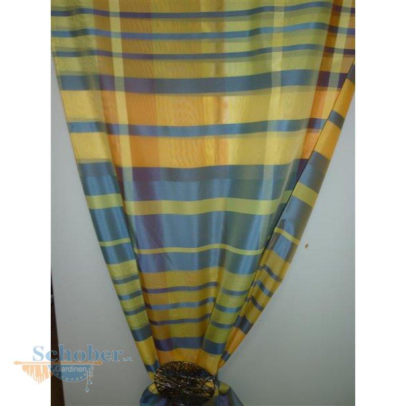 dekostoff gardine vorhang karo gelb orange blau nicht blickdicht met. Black Bedroom Furniture Sets. Home Design Ideas