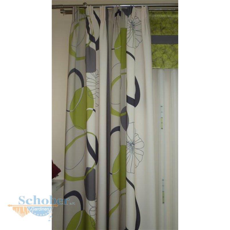 Dekostoff gardine vorhang bedruckt streifen kreise apfel schwarz blic - Gardine kreise ...