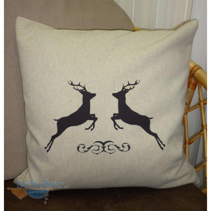 kissenh lle kissen bezug landhaus aus filz in beige mit hirsch 4. Black Bedroom Furniture Sets. Home Design Ideas