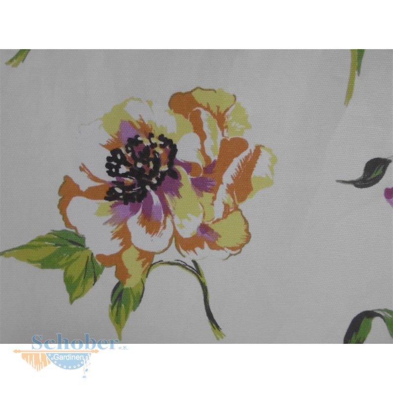 landhaus deko stoff gardine vorhang baumwolle blumen lila blickdicht. Black Bedroom Furniture Sets. Home Design Ideas