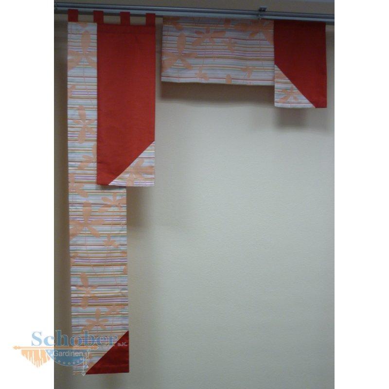 musterfenster aus ausstellung vorhang gardinen rot creme. Black Bedroom Furniture Sets. Home Design Ideas
