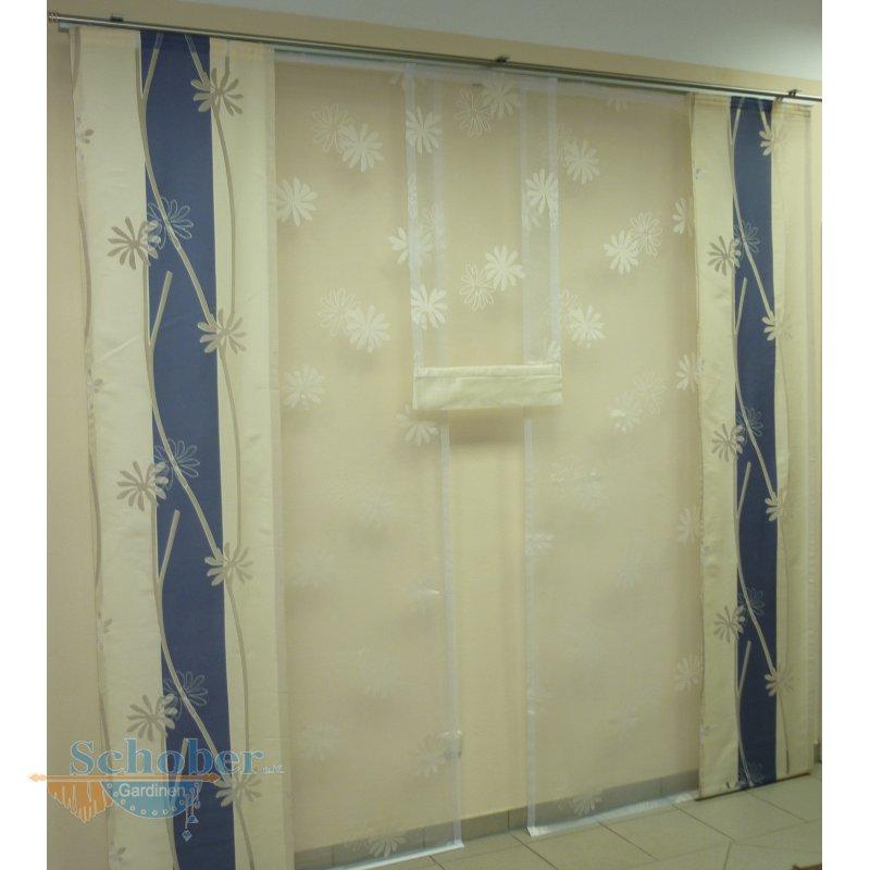 musterfenster aus ausstellung vorhang gardinen wei creme blau. Black Bedroom Furniture Sets. Home Design Ideas