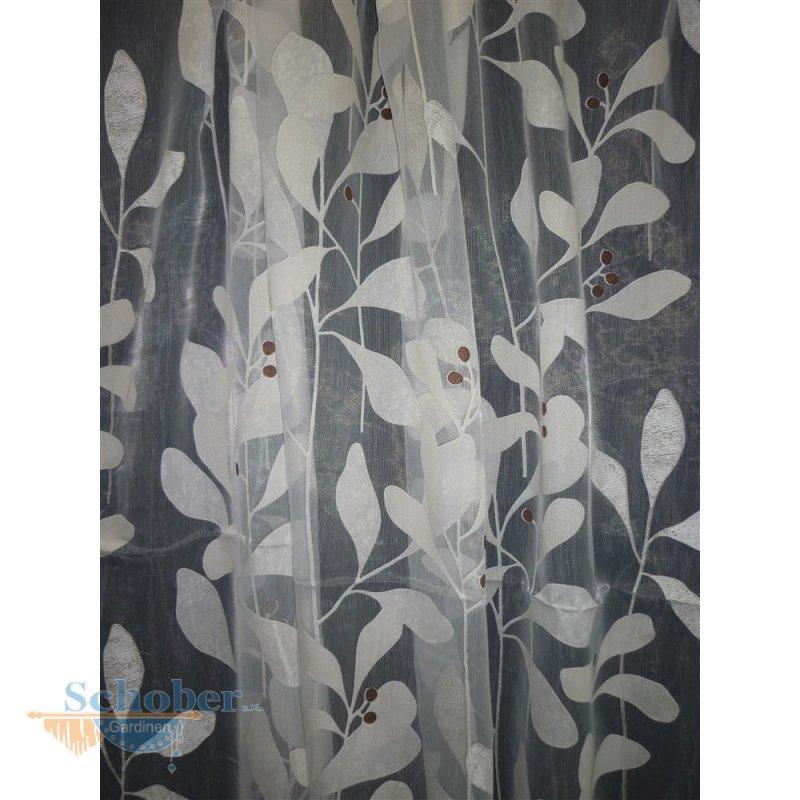 stores gardine stoff vorhang bl tter ranke wei beige brau. Black Bedroom Furniture Sets. Home Design Ideas
