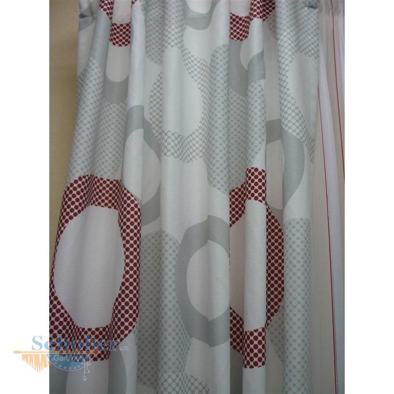deko stoff gardine vorhang kreise retro wei grau rot. Black Bedroom Furniture Sets. Home Design Ideas