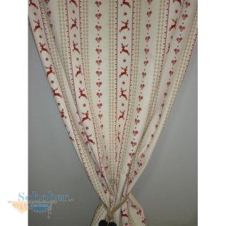 Vorhänge Landhaus deko stoff gardine landhaus vorhang hirsch streifen natur beige rot b