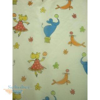 Deko Stoff Gardine Vorhang Kinder weiß bunte Tiere Hippo Elefan