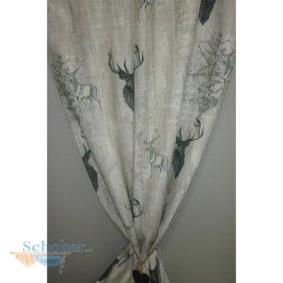 deko stoff gardine vorhang landhaus hirsch grau beige blickdicht met. Black Bedroom Furniture Sets. Home Design Ideas