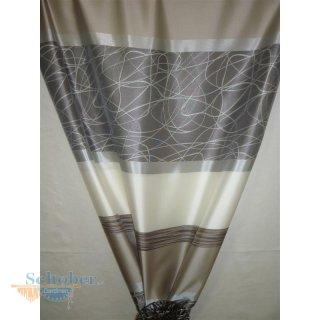 deko stoff gardine vorhang querstreifen creme beige. Black Bedroom Furniture Sets. Home Design Ideas