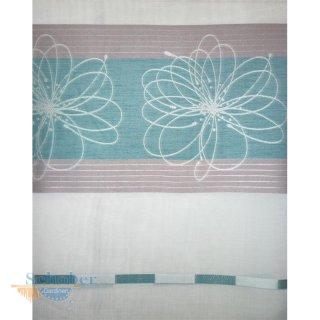 deko stoff gardine vorhang streifen blumen rohwei petrol grau. Black Bedroom Furniture Sets. Home Design Ideas
