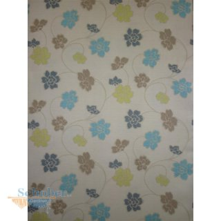 landhaus deko stoff vorhang blumen ranken natur braun blau gr n. Black Bedroom Furniture Sets. Home Design Ideas