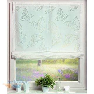 Raffrollo Ausbrenner Blätterranke weiß, 80 cm x 145 cm, te