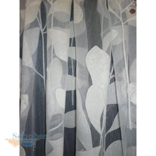 Stores Gardine Stoff Vorhang Blätter Ranke weiß beige brau