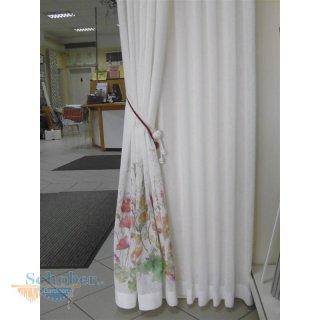 Stores Gardine Stoff Vorhang Rohweiß Blumen Bunt Teiltransparen
