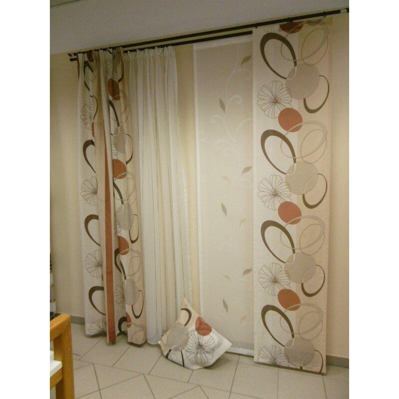 Musterfenster vorhang gardine schal fl chen kreise creme braun - Gardine kreise ...